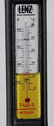 Hydraulic fluid thermometer