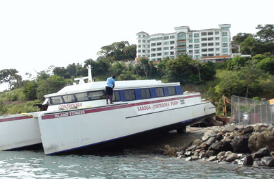 A 65-foot ferry is hauled out in Panama.